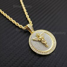 """Hip Hop Iced Baby Angel Medallion Pendant w/ 4mm 24"""" Rope Chain Fashion Necklace"""