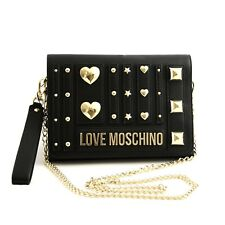 Bag Small Shoulder Clutch Love Moschino Woman Black Leather Stud Heart Gold Link