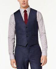 $281 Calvin Klein 44r Men'S Slim Fit Blue Wool Plaid Waistcoat Check Suit Vest