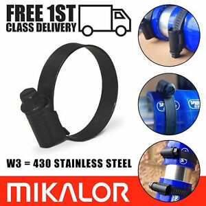 Black Hose Clips Mikalor W3 Worm Drive 430 Stainless Steel Radiator Pipe Clamps