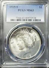 1925- S Peace Dollar PCGS MS63
