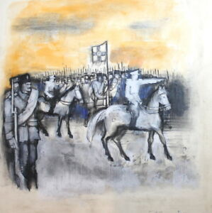 1985 GOUACHE PAINTING ARMY SOLDIERS SIGNED