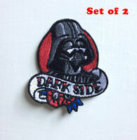 Dark Side Darth Vader Art Badge Iron or sew on Embroidered Patch Set of 2