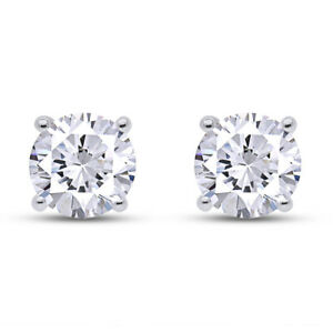 0.25 Ct Round Cut Moissanite Stud Earrings 14K Gold Over Sterling Silver