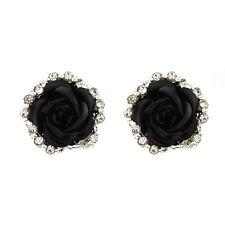 Elegant Rose Flower Crystal Rhinestone Pierced Ear Stud Earrings Women Lady Gift
