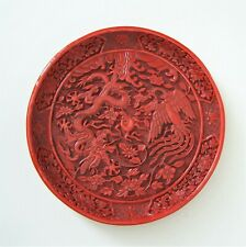 CHINESE ORIENTAL CINNABAR LACQUER DISH WITH 5 CLAWED DRAGON & PHOENIX DESIGN