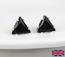 Silver Plated Black Triangle Stud Earrings - UK Free P&P
