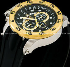 Invicta Men 52mm I Force Chronograph Gold Bezel Silver Case Strap SS Watch 19253