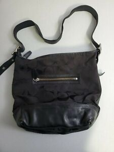 Coach Sateen Shoulder Bag Logo Soho Hobo Black No F1271-21149