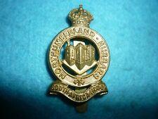 Genuine-British Army-The Northumberland Hussars KC Gilt Metal Cap Badge-WW1 Era
