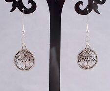 Tibetan Silver Tree, 925 Sterling Silver Hook Drop/Dangle Earrings.Handcrafted