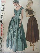 UNCUT Vintage 1940's 2283 ELEGANT EVENING GOWN DRESS Sewing Pattern Women Sz 14