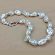 """AAAAA LUSTER 17""""30mm REAL Natural south sea baroque white pearl necklace,SILVER"""