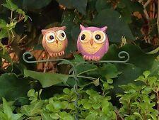 Miniature Dollhouse FAIRY GARDEN ~ GLOW in the DARK Double Owl Pick ~ NEW