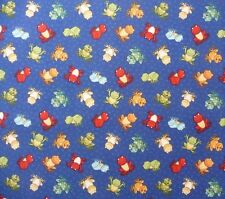 Small Tiny Frogs on Blue Bubbles Spots Fabric Sewing Quilting Craft FQ or Metre