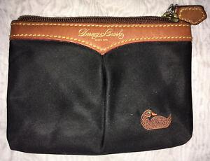 Dooney & Bourke Leather and Nylon Black Brown Duck Emblem Coin Purse Wristlet