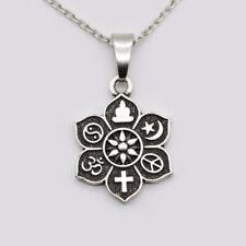 Coexist Universal Lotus Pendant OM Islamic Religious Belief Necklace pendant