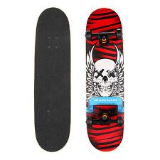 "Kids Beginner Skateboard Complete 8.15"" x 31"" Maple Fun Beginner Gift Abec 7 Red"
