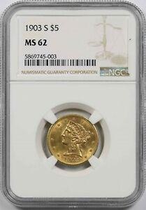 1903-S $5 NGC MS 62 Liberty Head Gold Half Eagle