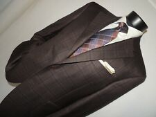 Exquisite Canali 1934 Men's 100% wool Brown windowpane jacket coat 46 R