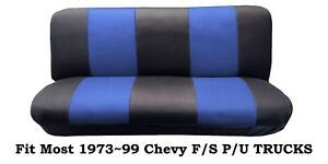 Mesh Black/Blue FULL SIZE BENCH Seat Cover,Fit Most 73-99 Chevy F/S P/U Trucks.