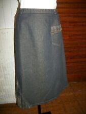 Jupe longue polyester coton bleu jeans stretch LEWINGER T.46/48 poche zip