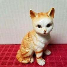 Vintage Bone China Cat Kitten Figurine Orange W/ Stripes