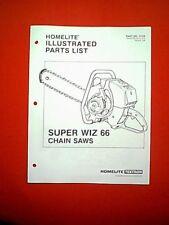 HOMELITE CHAIN SAW MODEL SUPER WIZ 66 PARTS MANUAL