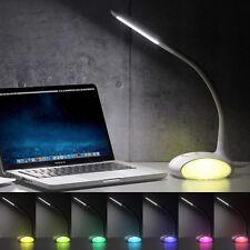 6W dimmbare LED Schreibtischlampe Farblicht Tischleuchte mit Schwanenhals weiß