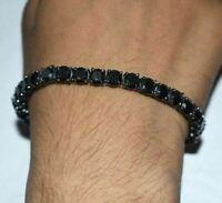 13ct Men's Tennis Bracelet Round Diamond 14k Black Gold Finish Excellent 8''