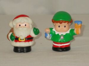 Fisher Price Little People Christmas Santa Claus and Elf VERY NICE 2001 2002