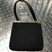 Harry Levine Vintage 1950s Black Satin Coin Clutch Evening Hand Bag Small