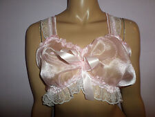 """PRETTY SHEER PINK ORGANZA  CAMISOLE BRA   TOP WHITE LACE 35-55"""" Bust  SATIN BOWS"""