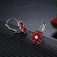 happy New Year Gift Flower Fire Red Garnet  Gems Silver Stud Hook Earrings