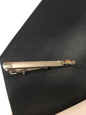 Black Necktie And Rainbow Tie Clip