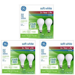 GE 6 PK 30 / 70 / 100 W Life Soft White Light Bulb 3 Way Incandescent