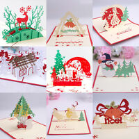 Santa Claus Deer Snowman 3D Pop Up Holiday Gift Cards Christmas Greeting Cards