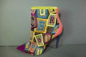 Louboutin 37 Gipsybootie SPC100 Patent Lace Mesh Mulitcolor ankle boots New