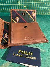 Polo Ralph Lauren Crest / Preppy Bifold Wallet Tan Leather Leat Brand New w/tags