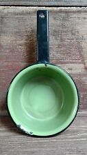Green Enamelware Sauce pan with Black handle 6 1/4 inches across