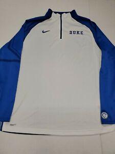 Duke Blue Devils Nike Fit Dry White Long Sleeve Quarter Zip Shirt Medium