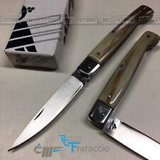 COLTELLO CACCIA ARTIGIANALE CORNO GUARDIA INOX FRARACCIO ITALY PATTADA 21 cm