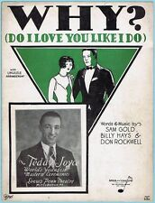 WHY? DO I LOVE YOU LIKE I DO by GOLD, HAYS & ROCKWELL w/ TEDDY JOYCE (1928)