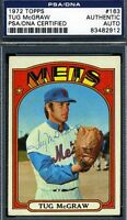 Tug Mcgraw Vintage Psa/dna Signed 1972 Topps Authentic Autograph