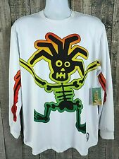 Flow Society Mens Lacrosse Rasta Man Shirt Sz M White Poly Blend Long Sleeve New