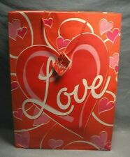 Valentine Love Gift Bag Empty Paper Tote 17 X 12 Inches Red & White Hearts