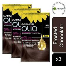 3 Pack Garnier Olia Hair Dye 5.15 Frosted Chocolate Brown No Ammonia Permanent