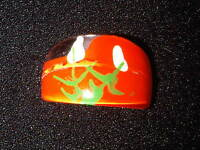 Orange, Green, and White Plastic Ring. Size O  (J102)