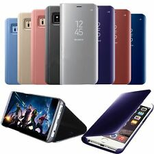 Smart View Mirror Leather Flip Stand Case Cover Glass Screen Protector For Apple