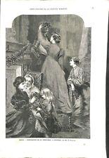 Préparatifs de la Chritsmas Noël à Londres peint par Mlle E.Osborne GRAVURE 1869